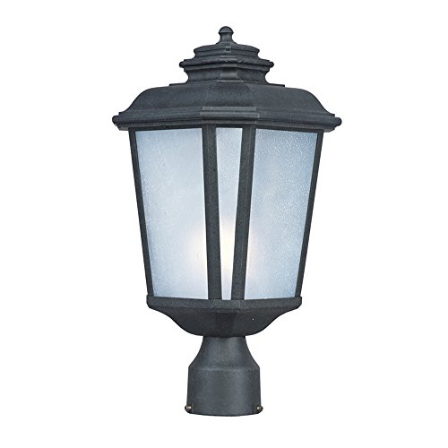 Maxim 3340WFBO Radcliffe 1-Light Medium Outdoor Post, Black Oxide Finish, Weathered Frost Glass, MB Incandescent Incandescent Bulb , 12W Max., Dry Safety Rating, 2700/3200K Color Temp, ELV Dimmable, Shade Material, 840 Rated Lumens ()