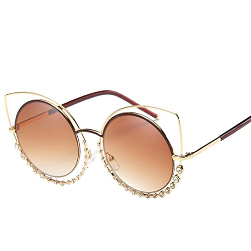 SMYTSHOP Sexy Cat Eye Rhinestone Sunglasses Round Metal Cut-Out Mirror Lens Eyewear UV400 Goggles with Box (Gold Frame, Gold - Cut Out Mirror