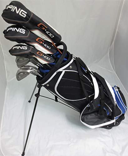 Ping Golf Mens Set RH Driver, Wood, Hybrid, Irons, Putter, Clubs & Deluxe Stand Bag Regular Flex