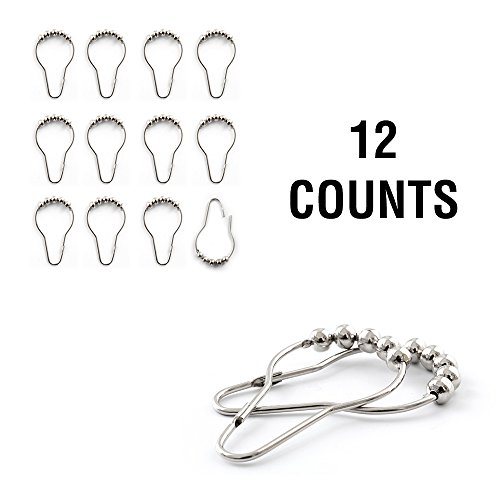 jinchan Shower Curtain Hooks Chrome Shower Curtain Rings Silver Metal Hanging Clip Chain Hooks for Bathroom 12-Pack