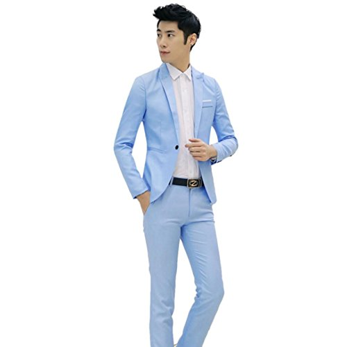 Sale For Suits Leisure (AOJIAN 2017 Business and Leisure Suit A Two-piece Suit (M, Sky)