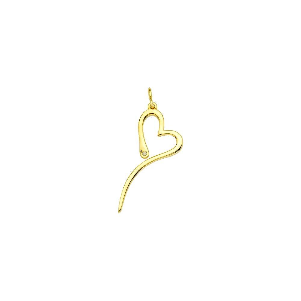 14kt Yellow Gold 1pt Diamond Slanted Open Heart Pendant
