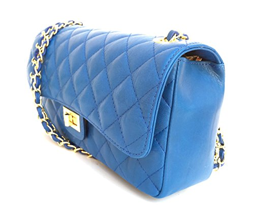 Blue Genuine Quilted Classic Model In Women's Leather Handbag Superflybags Italy Italian Parigi Made 7xq4pEFw