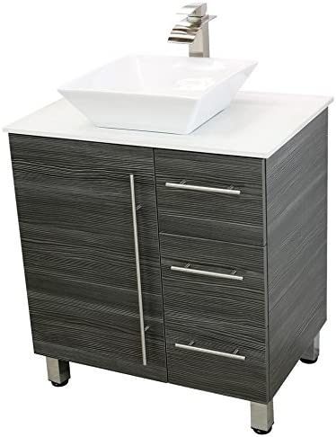 WindBay 30 Freestanding Bathroom Vanity, Dark Grey. White Flat Stone Countertop