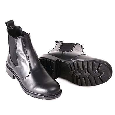 BURGAN 640 Unisex Combat Fashion Series Chelsea/Chukka Full Grain Leather Ankle Boots for Men and Women (42) Black