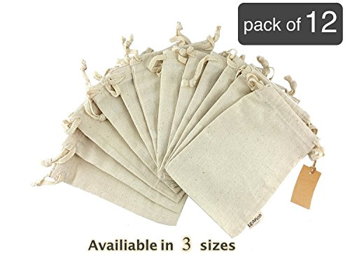 Organic Cotton Reusable Grocery Bags | Biodegradable Eco-Friendly Bulk Bin Bags for Bulk Food Small 5x7 Sachet Bags, Fruit Vegetable Storage, Drawstring Pouch, Produce Linen Bag, 12 Count Pack Leafico