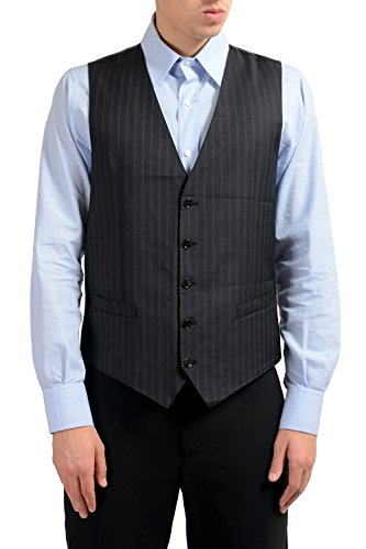 Dolce & Gabbana Men's 100% Wool Gray Striped Button Up Dress Vest US 42 IT 52 ()