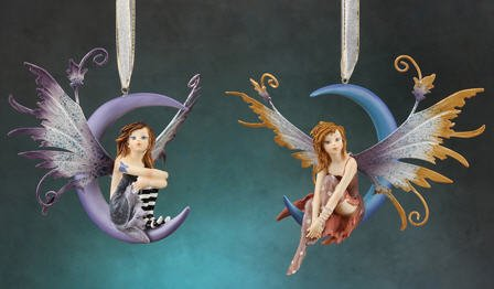 - Fairy on Moon Hanging Ornament Figurine with Hand Painted Metal Wings- 2 Piece/set