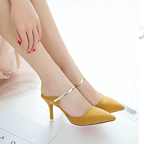 Sandals NAN Slippers Women's Summer Fashion Wear Stilettos High-heeled Women's Tips Half-Baotou Women's Shoes Apricot Color, Black, Yellow (Color : Black, Size : EU36/UK3.5/CN35) Yellow