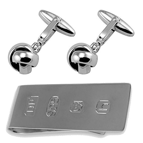 Silver Clip Bond Money Cufflinks James Sterling Knot Set Box 7w1Y7