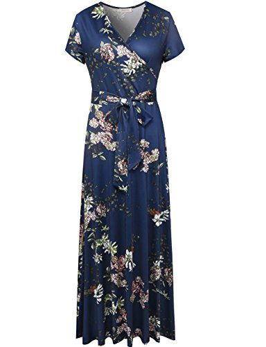 Melynnco Women's Vintage Floral Faux Wrap V Neck Short Sleeve Maxi Dress Medium Navy (Short Petite Sleeve Wrap)