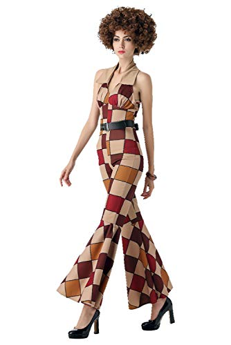 Womens Mens Funky Dancing 70s Disco Costume Plaid Halter Jumpsuits Flare Trousers Suits