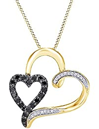 1/3 Ct Black & White Diamond Double Heart Pendant With Chain In 14k Gold Over Sterling Silver