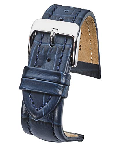- Genuine Padded Leather Watch Band in Alligator Grain Finish - Navy Blue -18mm