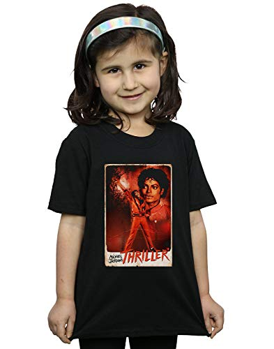 Michael Jackson Girls Thriller Stance T-Shirt Black 5-6 Years
