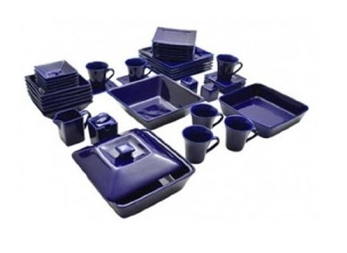 Nova 45 Piece Square Dish Set Cobalt