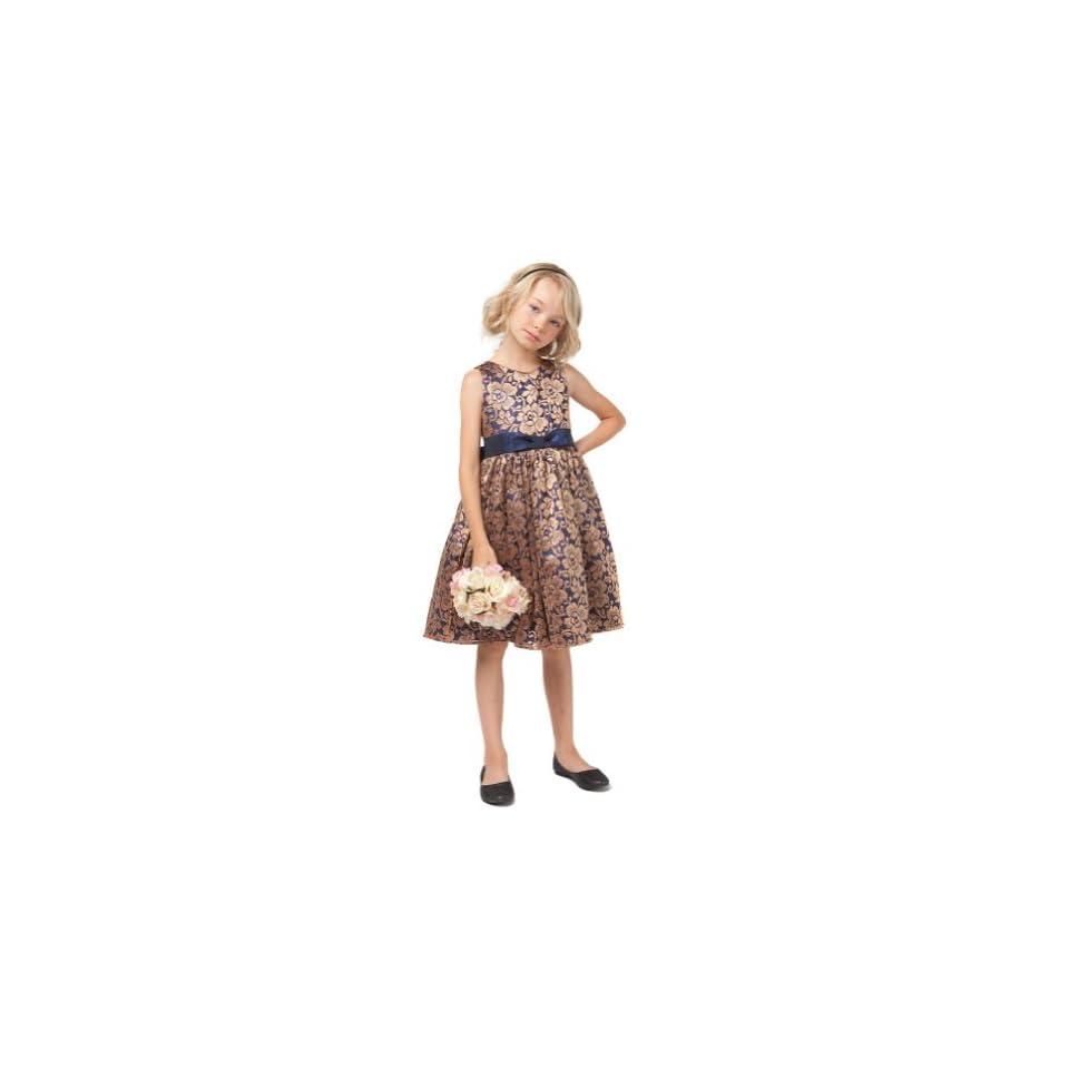 Sweet Kids Girls 7 Navy Gold Floral Lace Christmas Flower Girl Dress Sweet Kids Clothing