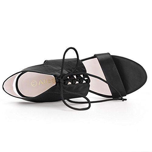 Allegra K Damen hohe Hacke offene Zehe Schnuerschuhe Sandalette Sandale Schuh Schwarz