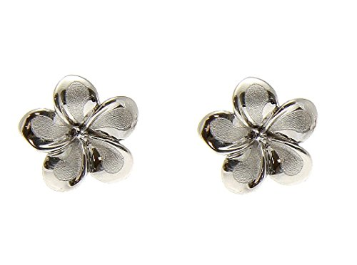 (14K solid white gold Hawaiian 9mm plumeria flower stud post earrings)