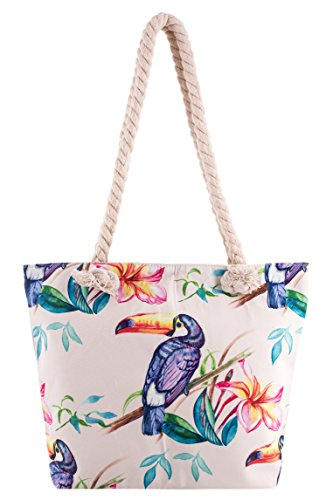 (Toucan Summer Beach Tote Bag - Pastel )