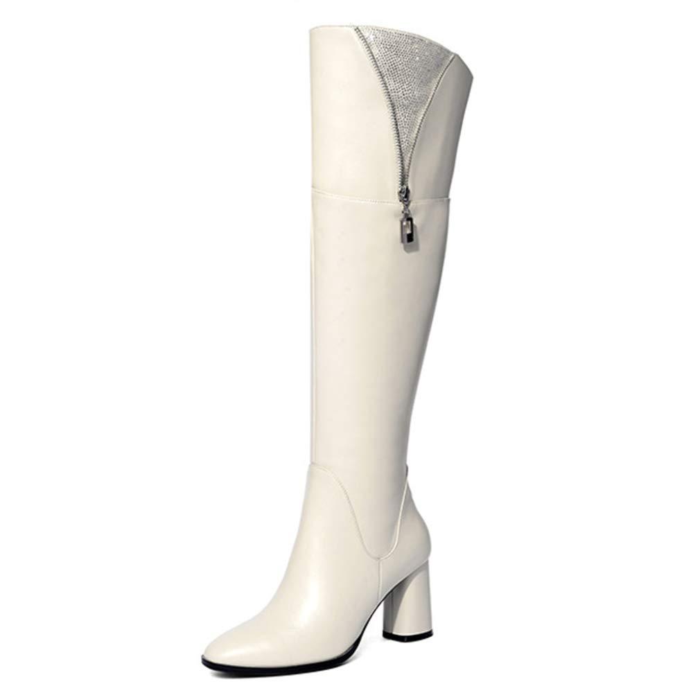 Cy Damen über Das Knie Stiefel Ritterstiefel Runde Zehe Dicke Echte Lederschuhe Strass Dekoration Reißverschluss Lange Schlauchstiefel