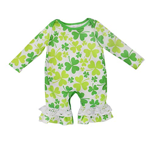 So Sydney Girls Toddler Baby Infant Holiday Long Sleeve Romper Jumpsuit (S (3-6 Months), Good Luck -