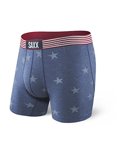 Saxx Underwear Vibe Men's Boxer Briefs 5' Ballpark Pouch Chambray Americana Medium