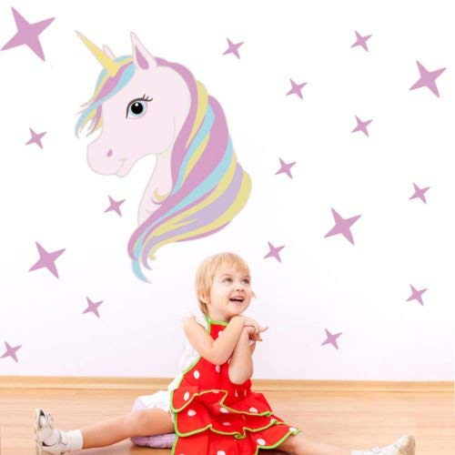 Assyrian Magic Unicorn Wall Stickers Colorful Animal Unicon Stars Dream Decals Room Diy Poster Wallpaper - Wall Stickers