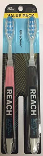 Reach Superior Performance Toothbrush, Soft Full Head, Pack of 2 (Pink & Black)