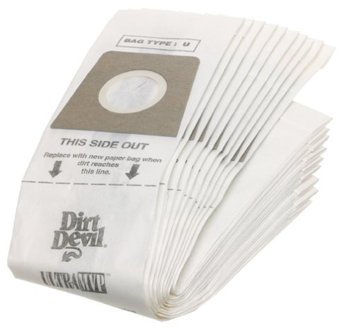 Dirt Devil Type U Vacuum Bags (10-Pack), - Featherlite Bags Devil Dirt