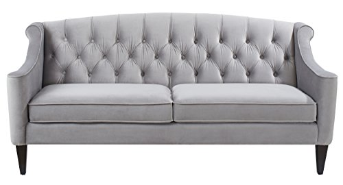 Jennifer Taylor Home, Upholstered Sofa, Opal Grey, Velvet, Hand Tufted, Wooden Legs