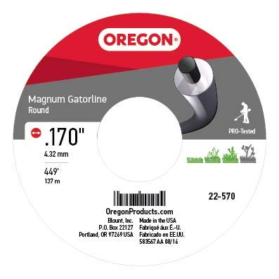 Oregon 22-570 Gatorline 5-Pound Spool of Heavy-Duty Professional Magnum .17-Inch-by-449-Foot Round String Trimmer Line