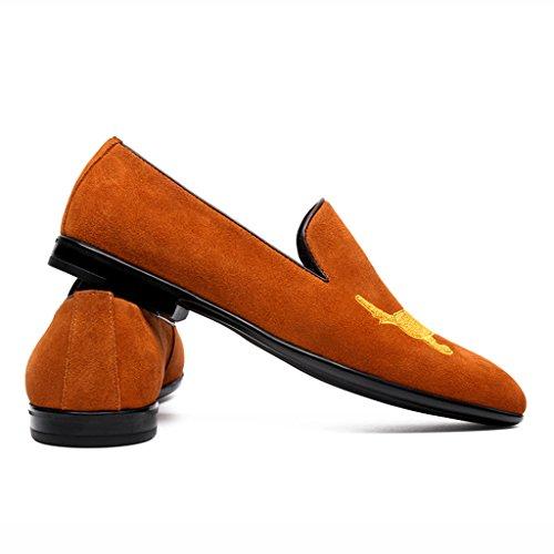 Herren Lederschuhe Frühling Männer Casual Lederschuhe Männlich Spitze Britischen Stil Lounger Nubuk Männer Single Schuhe Herrenschuhe ( Farbe : Schwarz , größe : EU39/UK6 ) Yellow Brown