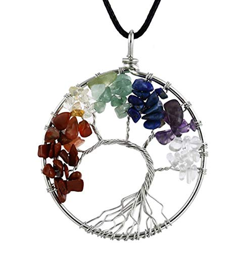 HoodaSpa Tree Life Chakra Gemstone Pendant Necklace Leather Cord 40 + 4 cm Genuine Crystals - Healing, Balance Relax in Beautiful Gift Package (Wholesale Leather Jewelry)