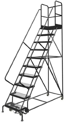Tri-Arc Deep Top Steel Rolling Industrial & Warehouse Ladder with Handrails, Wide Grip Strut Tread