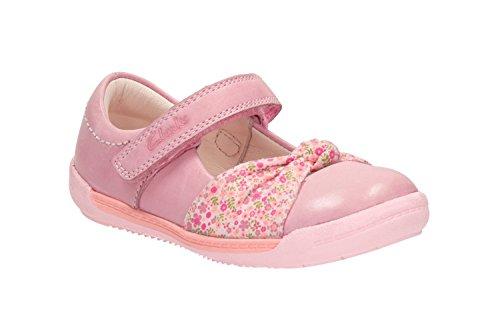 Clarks Pre-School et légèrement Nia-Fst Chaussures en cuir pour bébé Rose