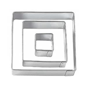 SODIAL(R) Square Cut Outs Cookie Cutters,Set of 3