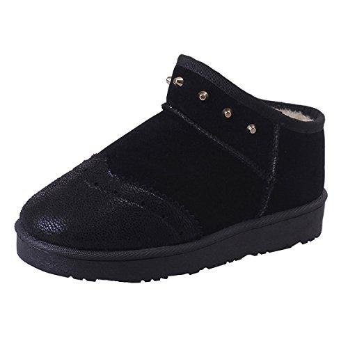 Dear Time Women Winter Ankle Boots Rivet Wingtip Faux Fur Lined Outsole Snow Ankle Booties Black