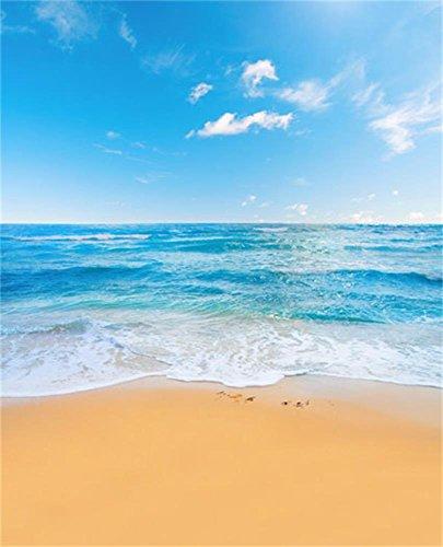 Laeacco 5x7ft Blue Sky Beach Vinyl Photography Backdrop