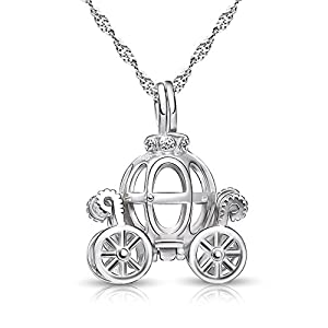 925 Sterling Silver Pumpkin Carriage Pendant Necklace,Bracelet