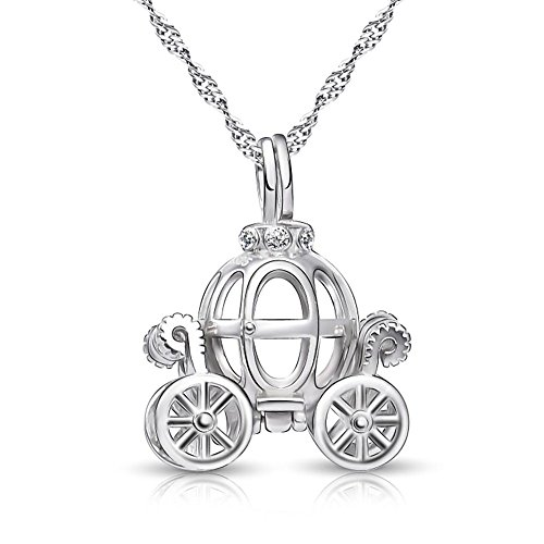 925 Sterling Silver Pumpkin Carriage Pendant Necklace,18