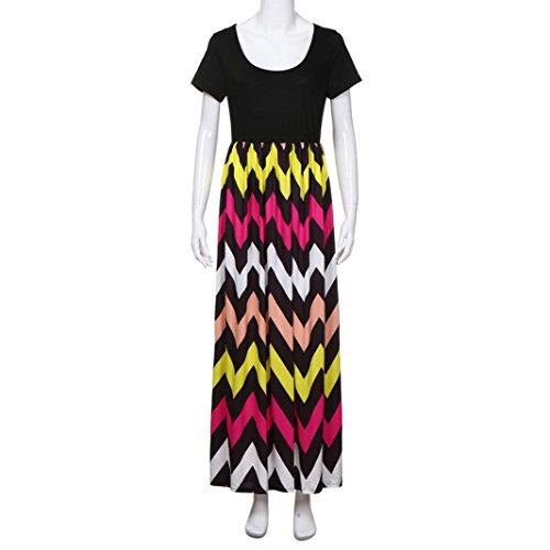 Maxi Boda Más Larga Largo Elegante Vestir Largo Camiseta Cheurón Multicolor Encaje La Impresión Vestido De JYC Fiesta Casual Verano Falda Tamaño Vestido Mujer 6xnq6TRF