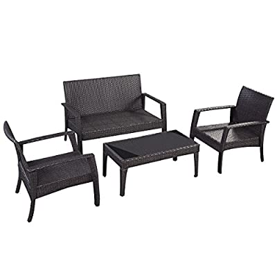 Giantex 4pc Patio Rattan Furniture Set Tea Table &Chairs Outdoor Garden Steel Frame