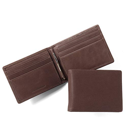 Leatherology Men's Bifold Wallet with Spring Money Clip - RFID Available - German Leather - Mahogany (brown) - Mahogany Money Clip