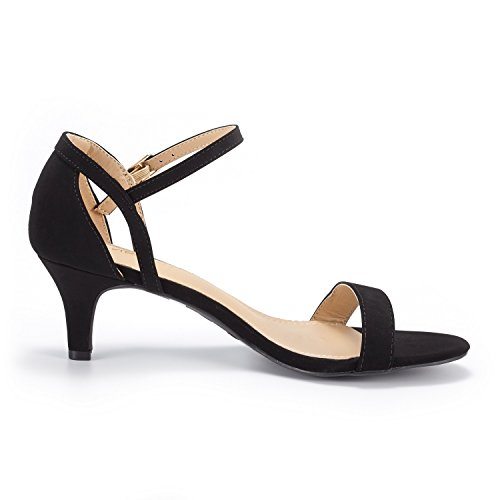 DREAM PAIRS Fashion Pump Open nubuck Women's LEXII Toe Stilettos Black Heeled Sandals SpSOr