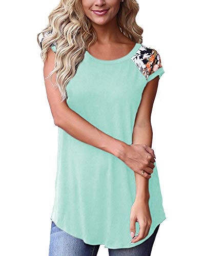 Women Short Sleeve Shirts and Blouse Summer Comfy Spring Tops Green M