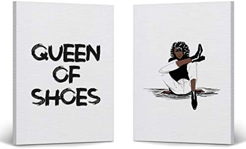 Modern African Women Queen of Shoes Quote Fashion Two Pieces Canvas Print Decorative Art Wall Decor Artwork 100 Handmade