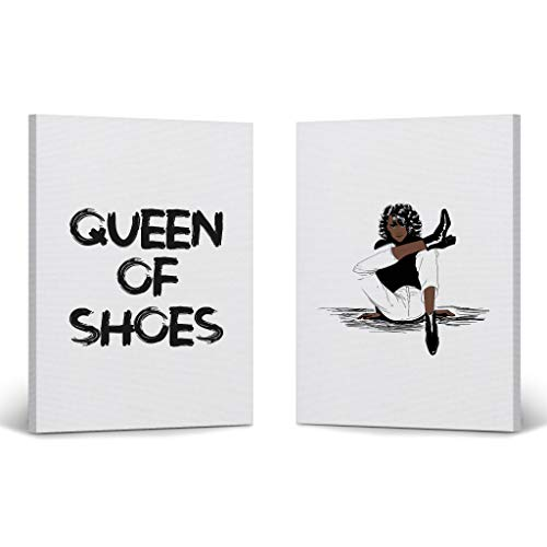 Modern African Women Queen of Shoes Quote Fashion Two Pieces Canvas Print Decorative Art Wall Decor Artwork African American Art Living Room Bedroom Ready to Hang Made in USA 22x15