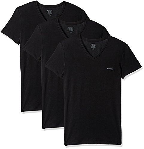 bf109bcc Diesel Men's Umtee-MICHAEL3PACK V-Neck T-Shirt, Black, S | Spread ...