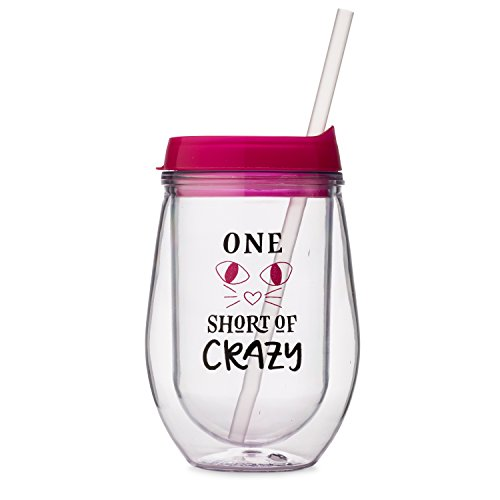 Double Cat - One Cat Short Of Crazy - 10 oz Adult Sippy Cup Acrylic Double Wall Insulated Wine Tumbler with Lid (One Cat Short Crazy)